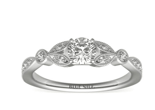 Petite Vintage Pavé Leaf Diamond Engagement Ring in 14k White Gold (1/5 ct. tw.) | Blue Nile