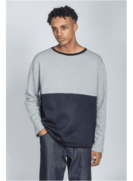 Organic Colour Block Sweatshirt In Grey & Black by Rozenbroek
