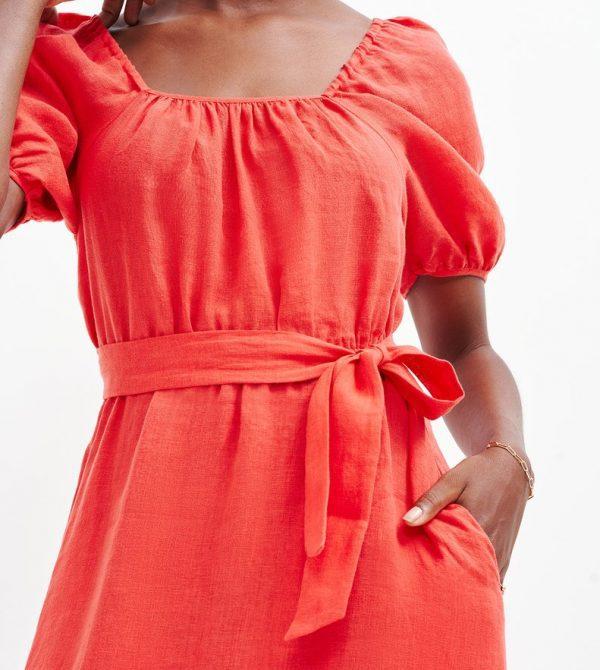 Michelle Linen Midi Dress (Carmine)