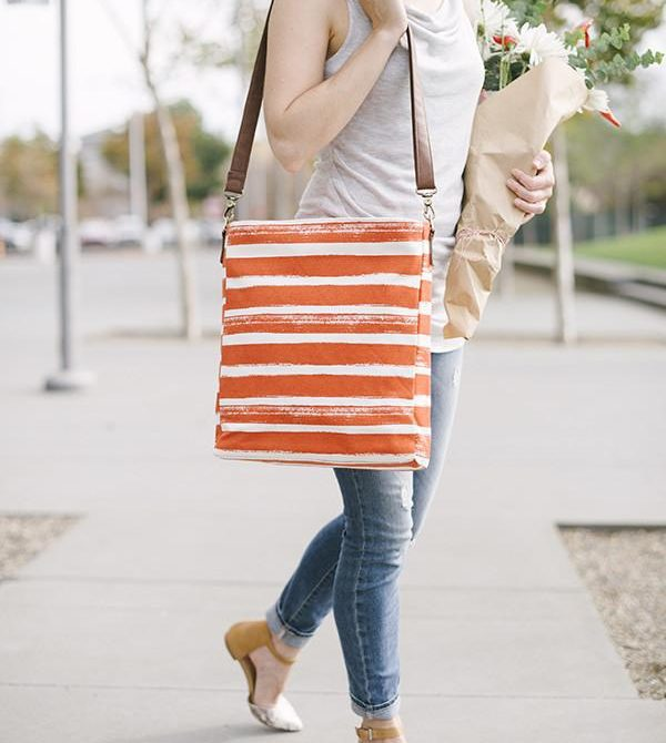 Crossbody Bag – Tangerine Stripes