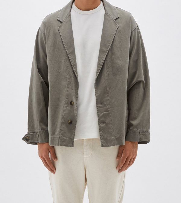 trench style washed jacket