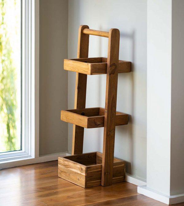 Tiered Teak Wood Shelf Stand
