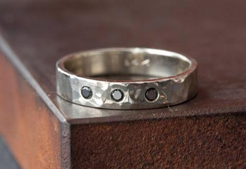 14kt Gold  Band with Black Diamonds