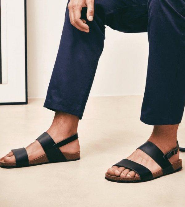 black-unisex-3-strap-vegan-sandals
