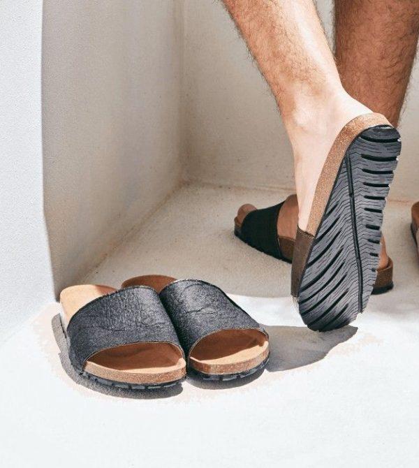 Bay black piñatex slider vegan sandals