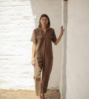 Painter's Jumpsuit, Light Silk Linen | OZMA