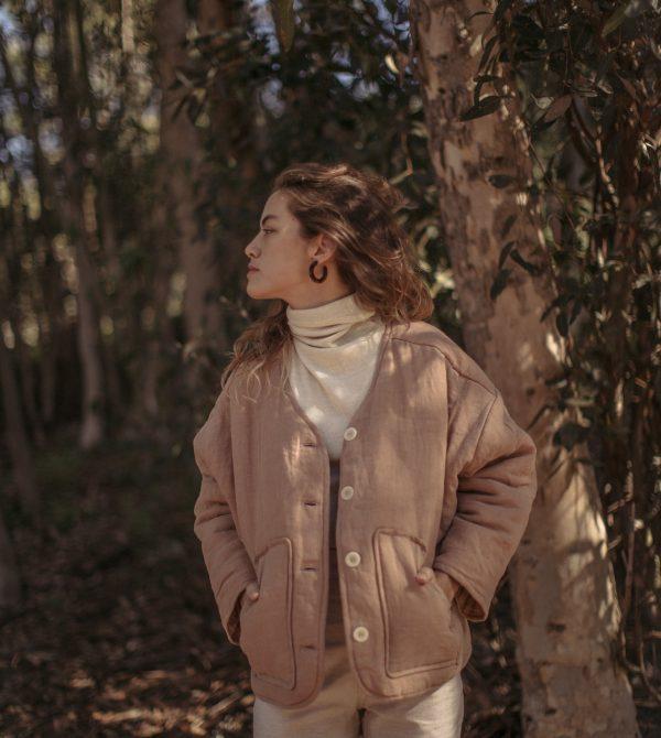 Wolfe Coat, Linen, Rose | OZMA