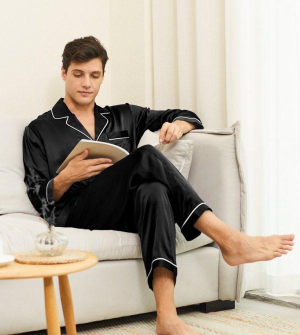 Piped Silk Pajamas Set