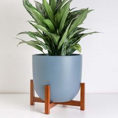 Contour Ceramic Planter + Wood Stand