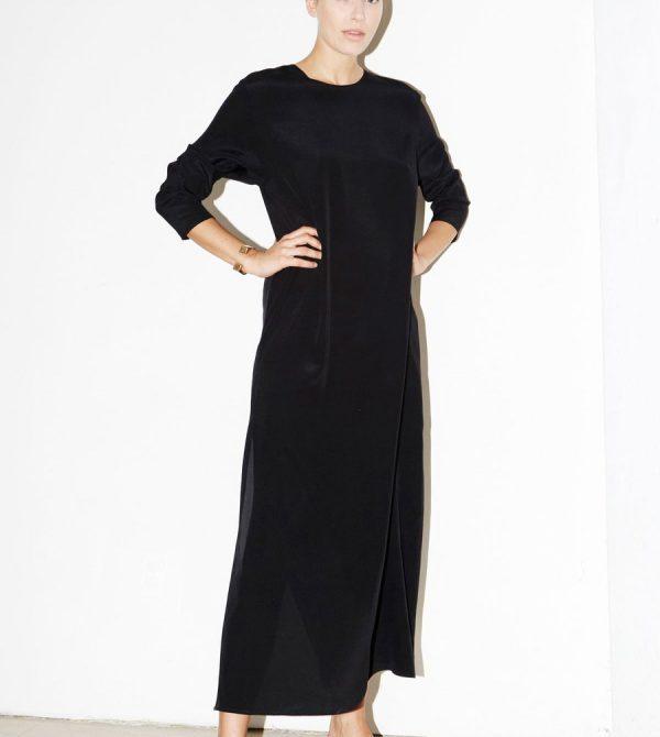 Black Silk Ava Dress