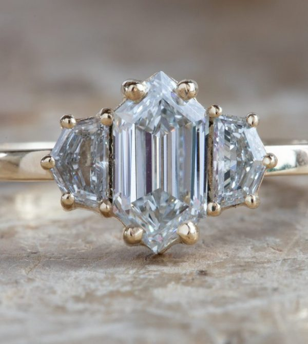 Step Cut Hexagon Diamond Engagement Ring