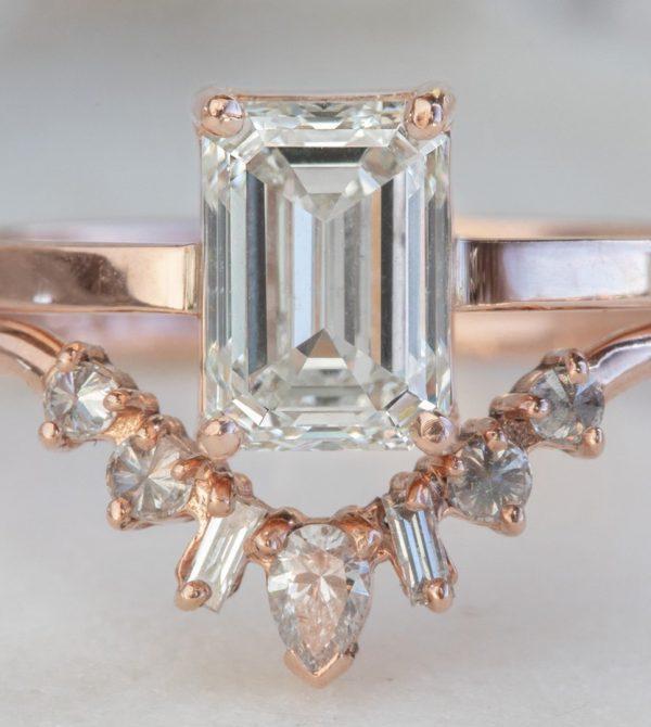 Emerald-Cut White Diamond Engagement Ring