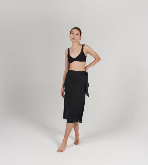Midi Pareo Wrap Skirt (Black)
