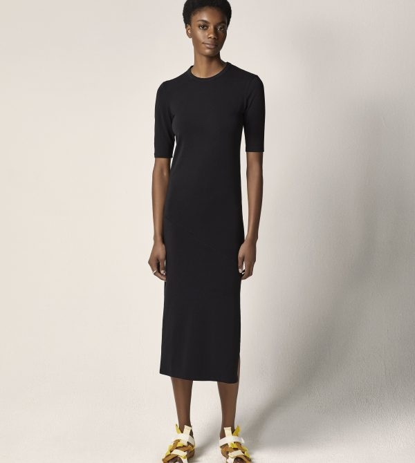 Elbow Sleeve Black Dress   Another Tomorrow