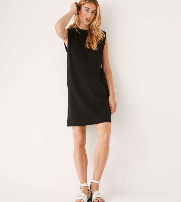 The Good Cotton Midi Length Sleeveless Dress in Black