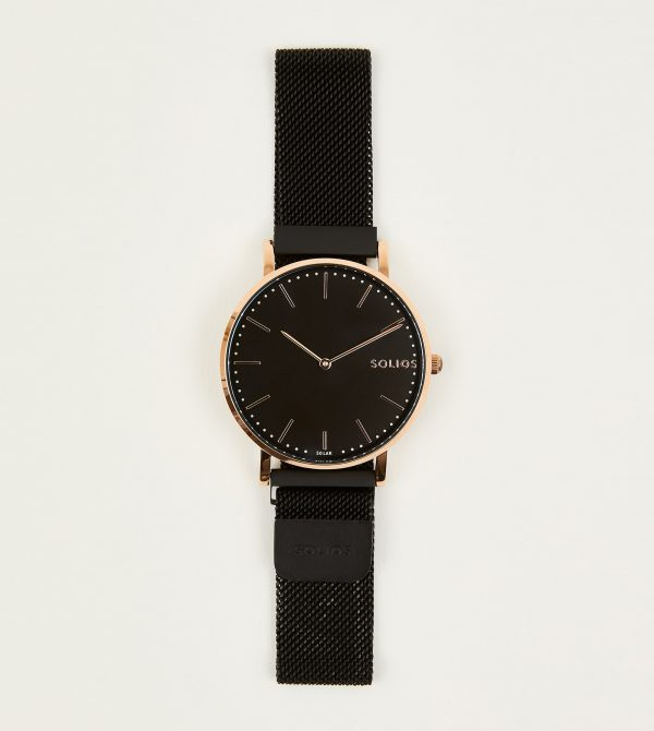 Solios Eclipse Solar Watch with Mesh Strap 40mm in Black
