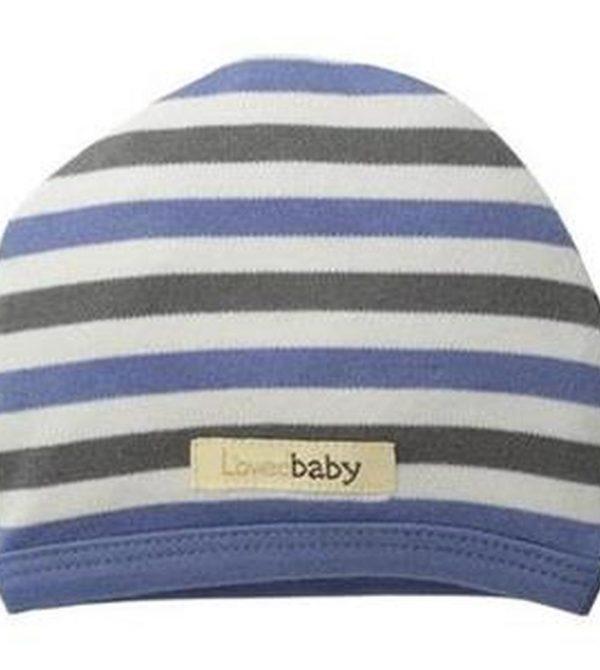 Organic Cute Cap in Slate Stripe