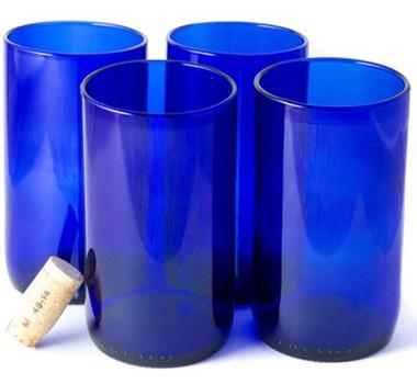 Wine Punts Tall Blue Flat Bottom Drinking Glasses Set Of 4