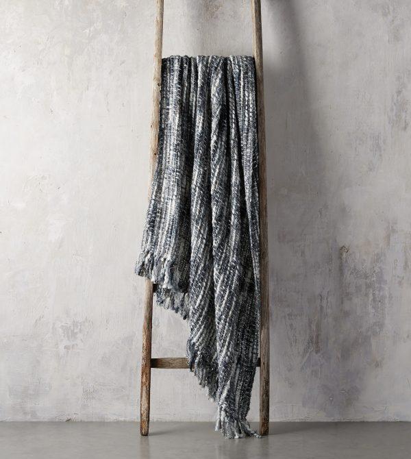 Chunky Knit Grey and Black Throw |- Arhaus
