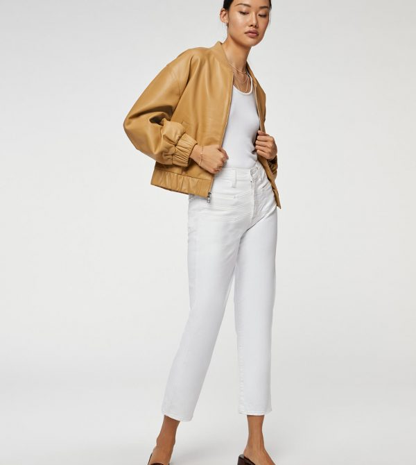 High Waist Cropped Straight with Chevron Seaming in Clean White