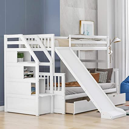 Merax Twin Over Full Bunk Bed with Drawers