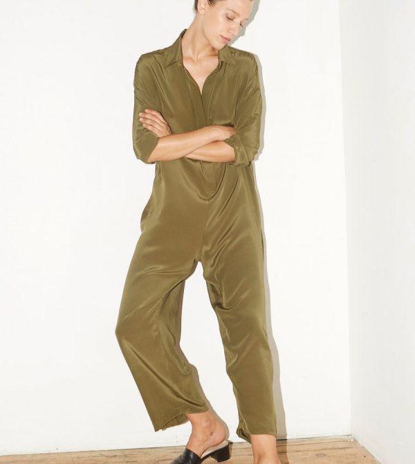 Olive Green Silk Ren Jumpsuit