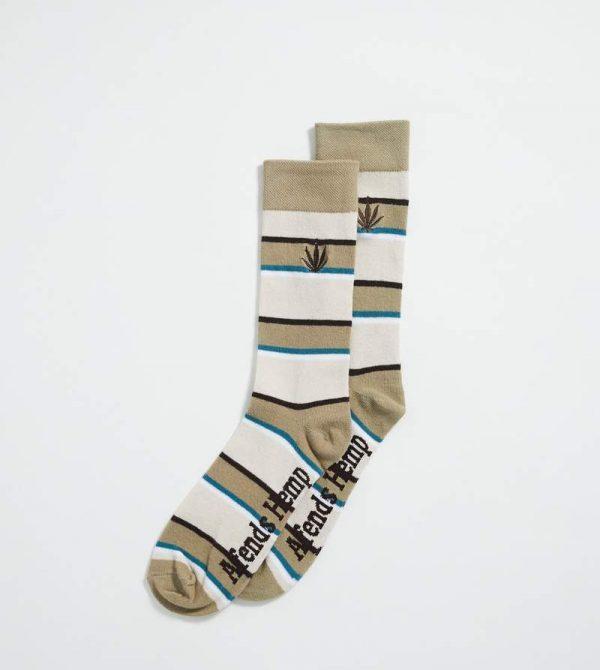 Afends Unisex Revolver – Hemp Stripe Socks One Pack – Desert