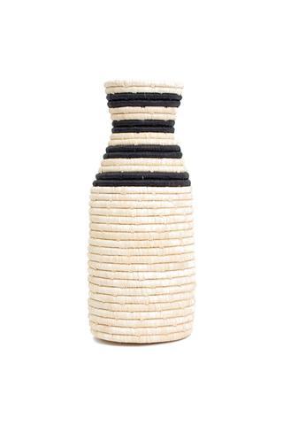 Striped Black Raffia Vase