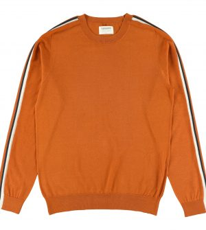 Mikio rust | Jumper crew neck with contrast colour on the sleeves | Aymara