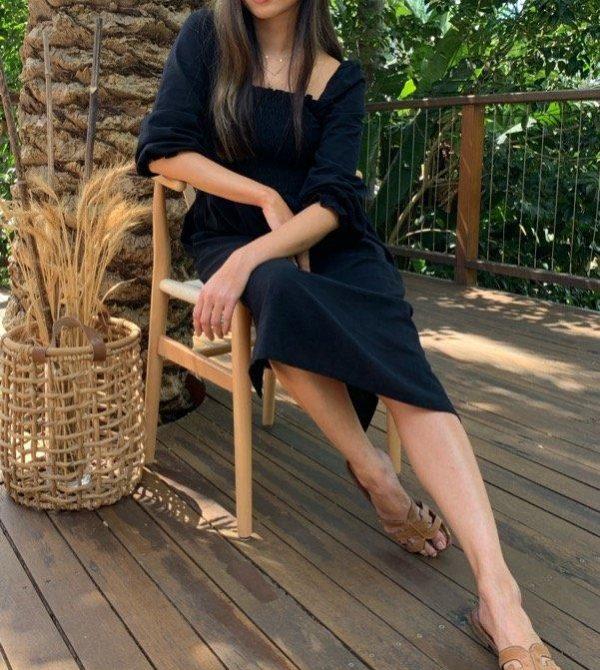 Alena Black Cotton Dress