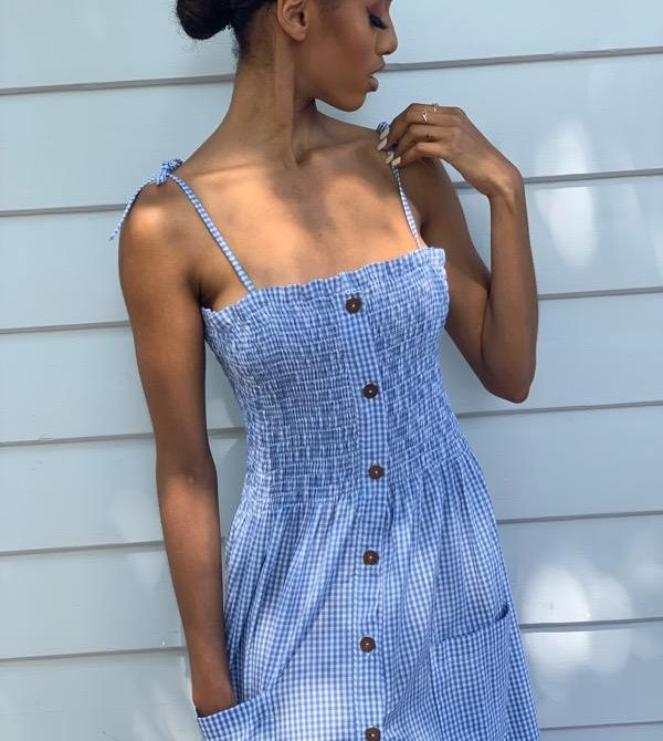 Alexa Indigo Gingham Dress