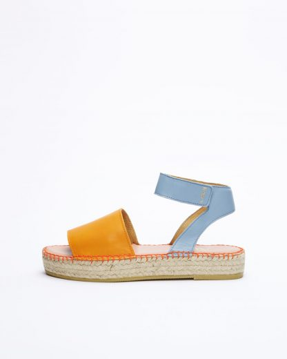 Alvesta DS mandarine leather ankle strap sandal espadrilles | Act Series