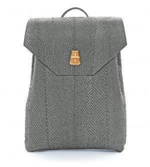 The Amelia Backpack in Stone with Brass Hardware