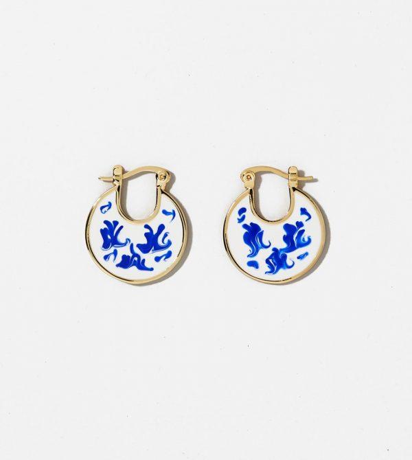 Enamel Earrings – Hana Marble Blue