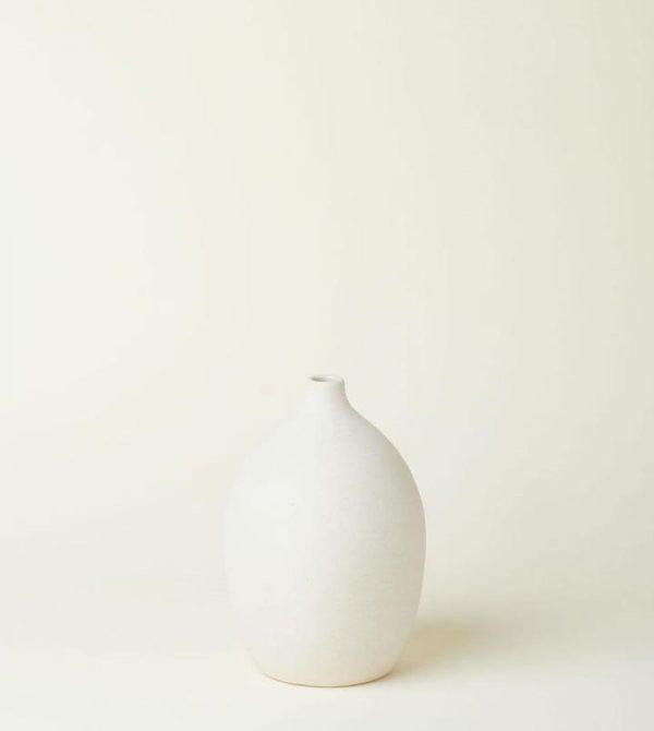 Emilia Fluted Vase In Crema