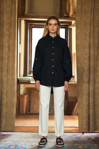 Gather Sleeve Black Shirt