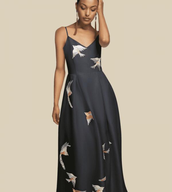 Embroidered black silk organza dress Long