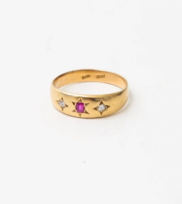 18K DIAMOND + RUBY RING | VINTAGE