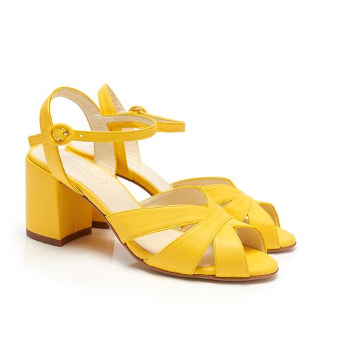 Celia Yellow Faux Leather Vegan Heels