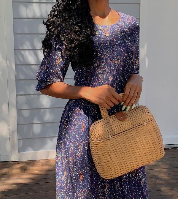 Christy Navy Vintage-Inspired Floral Dress