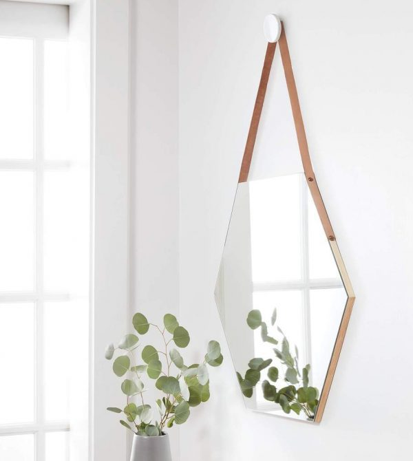 Hexagon Mirror with Leather Strap