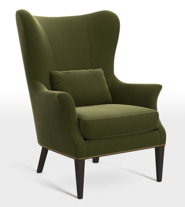 Clinton Modern Wingback Chair with Nailheads