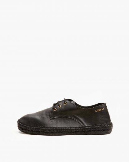 Cyan Men black leather sneaker espadrilles | Act Series