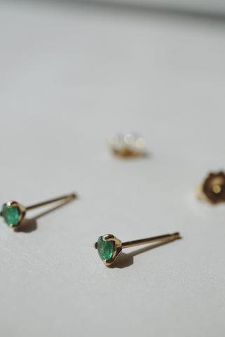 Baby Emerald Studs
