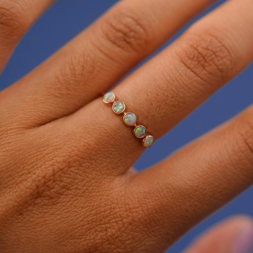 5 Opals Ring