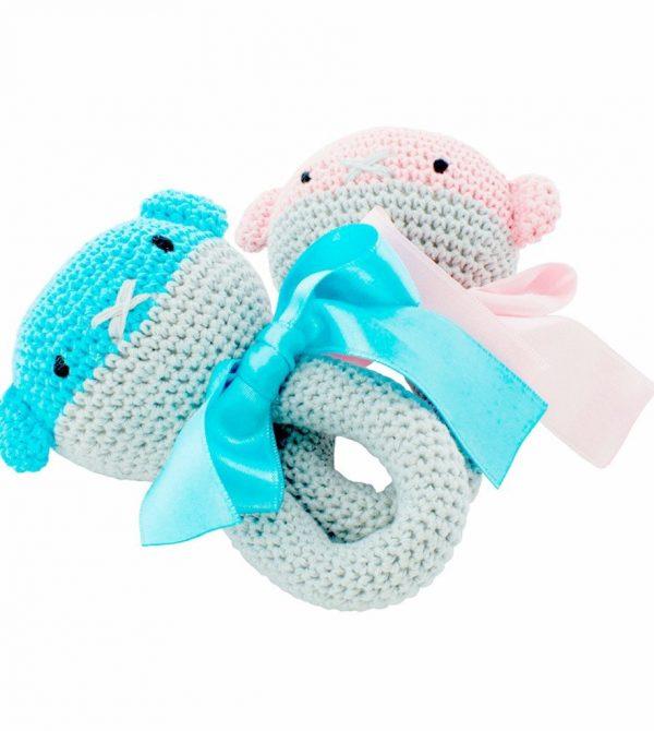 Handmade Crochet Aqua Baby Rattle – Clancy