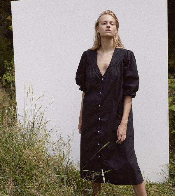 shirred dress – black