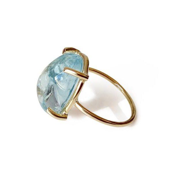Repurposed 14k Yellow Gold Aquamarine Cabachon Solitaire Ring – Small