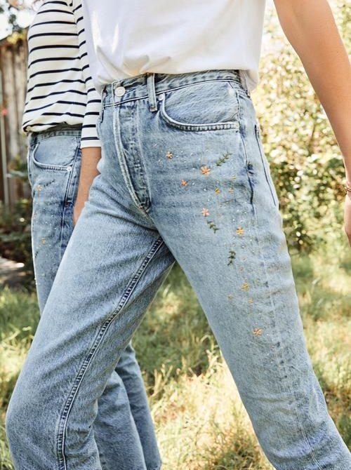AGOLDE Riley Embroidered Straight Jean