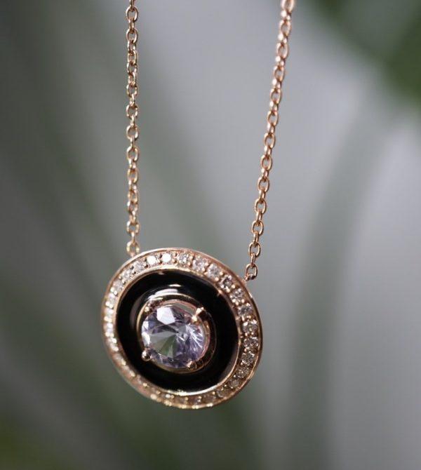 Lavender Sapphire and Enamel Necklace